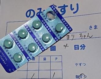 森の中の動物病院で術後の「まり」に処方された薬