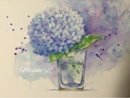 紫陽花とガラス3