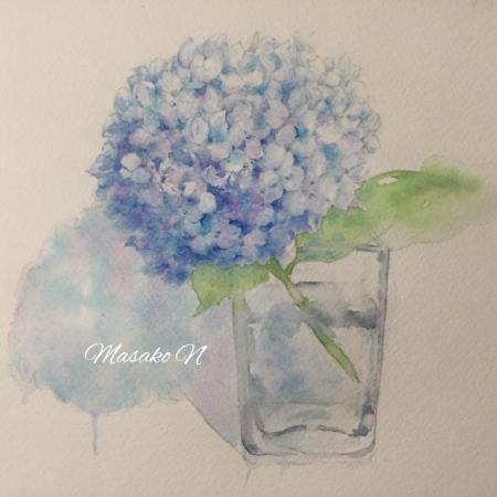 紫陽花とガラス1