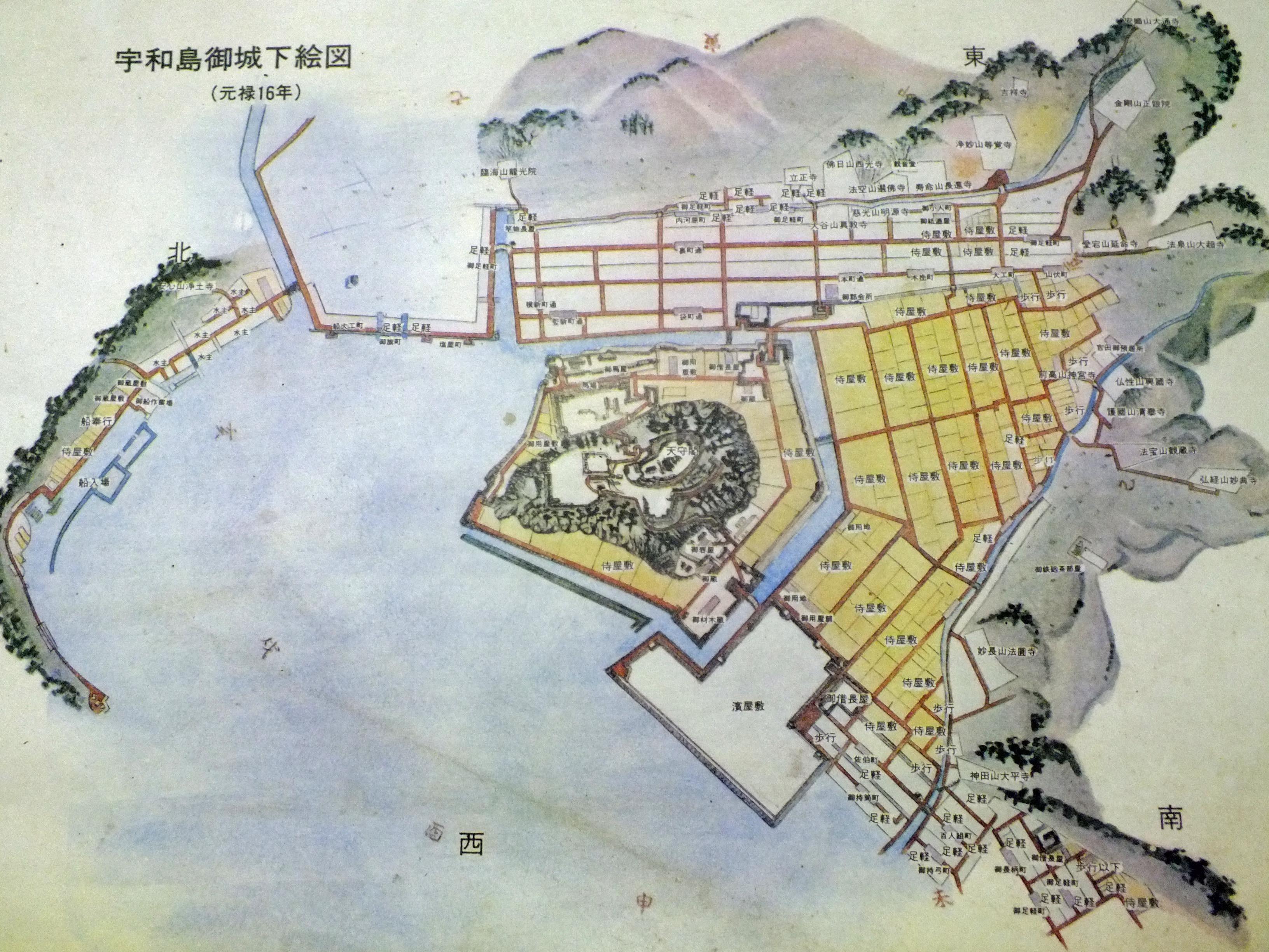 宇和島城 絵図現地説明板より