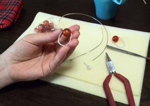 天然石ブレスレット作り