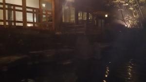 よろづやアネックス湯楽庵、庭園露天風呂、夜。
