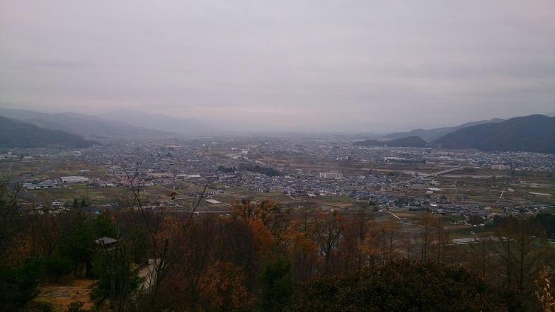姨捨から川中島の眺望。