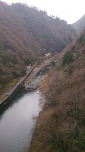 湯原ダムからの湯原温泉の風景