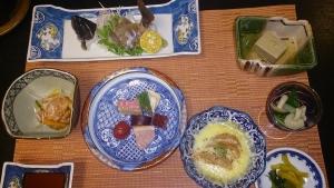 静響の宿 山水 夕食料理1