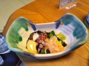 湯の里 渓泉。夕食。和会席料理、蛸の和え物。