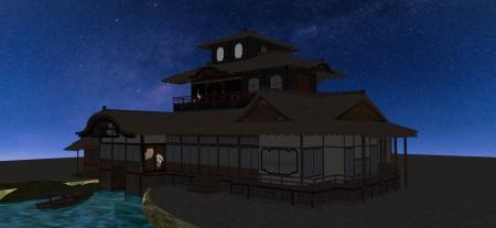 夜の聚楽第の飛雲閣5-16-5