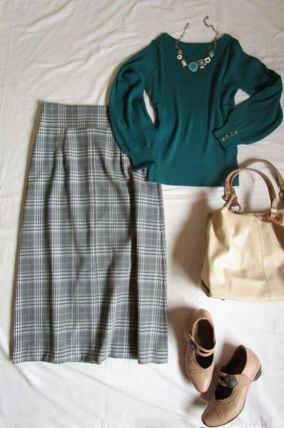 PLSTチェックマキシ丈スカートの着回し (4)