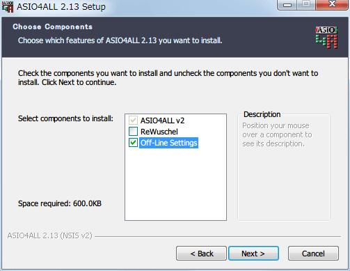 ASIO4ALL 2.13 インストール Off-Line Settings にチェックマークを入れる