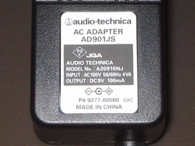 オーディオテクニカ audio-technica マイクロフォンアンプ AT-MA2 付属 AC アダプター アウトプット DC9V 100mA