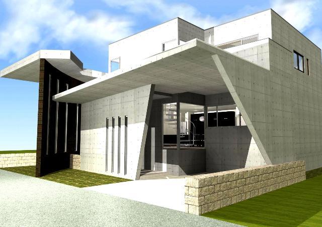 滋賀県大津市 広いパティオ 中庭 鉄筋コンクリート 打ちっぱなし 吹き抜け空間 螺旋階段 モダンなデザイナーズ住宅