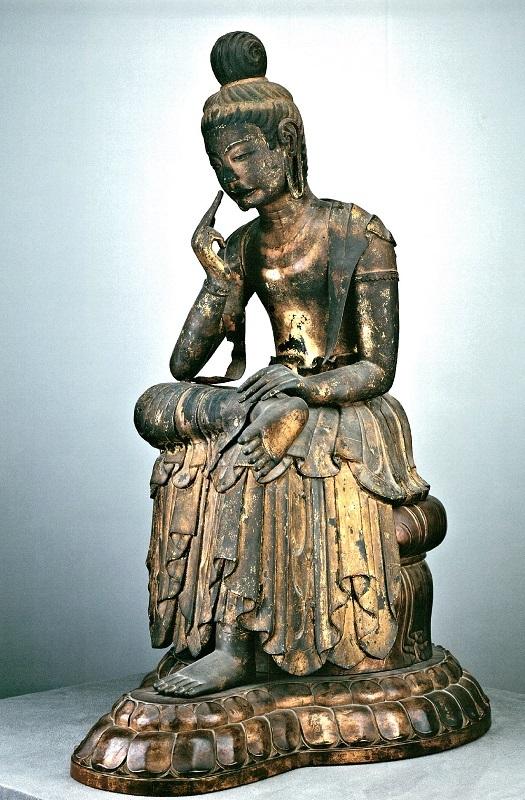 広隆寺・宝髻弥勒菩薩像~指が頬と離れているが指先は後補