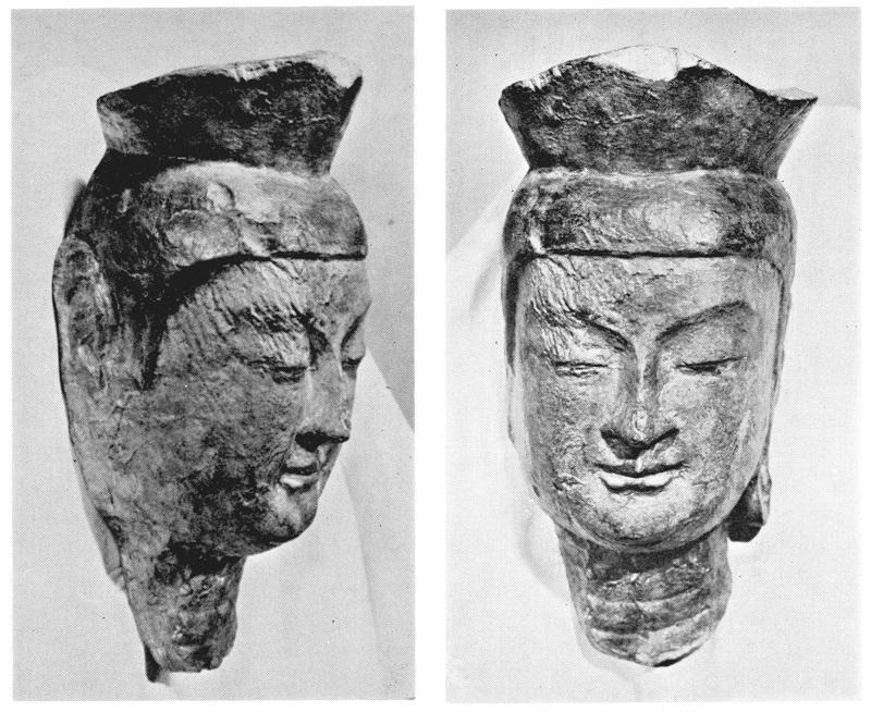 明治修理前に石膏で型抜きされた宝冠弥勒像頭部(久野健著「古代朝鮮仏と飛鳥仏」所載)