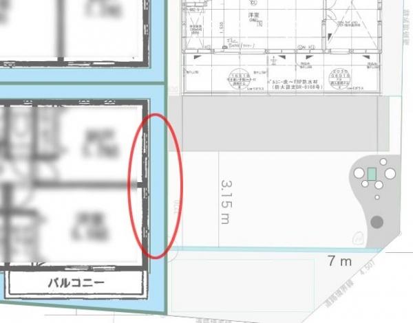 隣の家との配置関係2F _1メートル以内