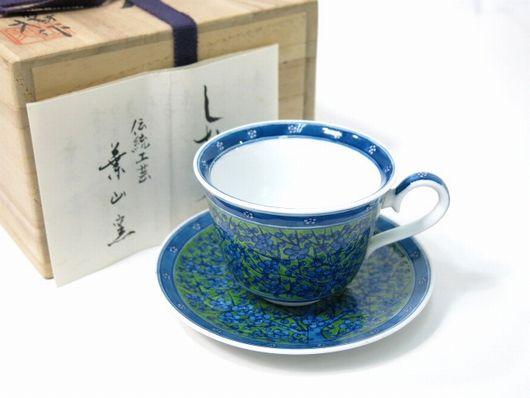 伝統工芸 葉山有樹 緑地梅花紋 珈琲碗