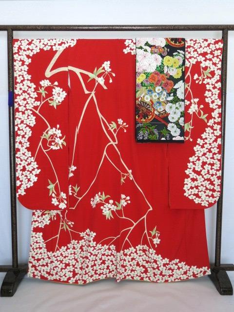 最高級 本加賀友禅 由水煌人 振袖 白綾苑大庭謹製 唐織 袋帯