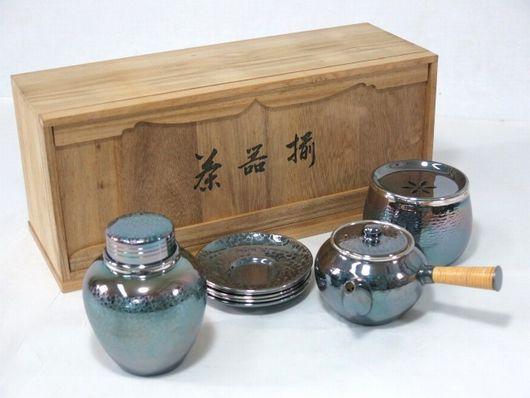 銀川堂 いぶし銀 茶器揃 急須 茶入 茶托 建水 黄銅製