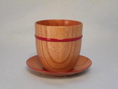 ケヤキの皿付きフリーカップ