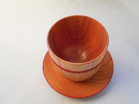 ケヤキの皿付きフリーカップ1