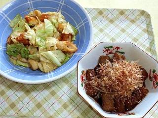170707_4759 キャベツと竹輪の炒め物・コンニャクの田楽風赤味噌煮VGA