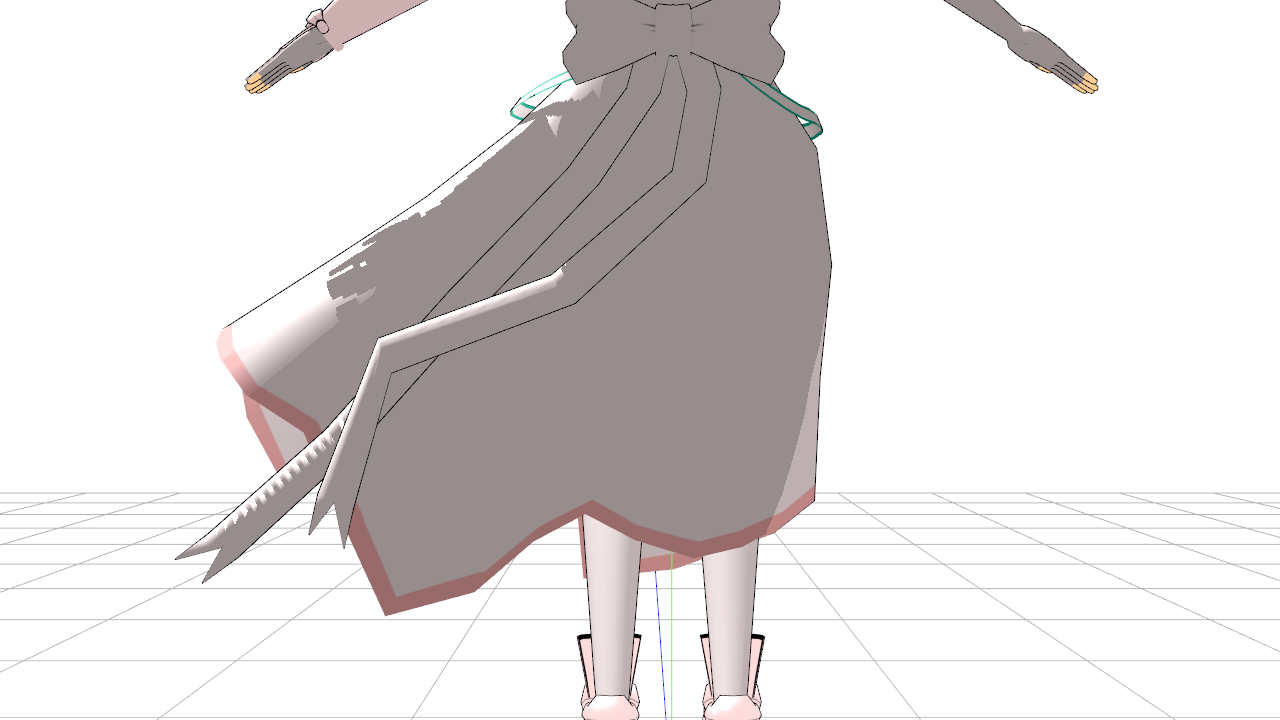 2017/05/06 MMDジャンヌ・タルト製作中 スカートとリボンの物理演算