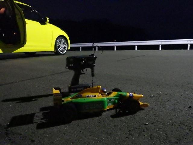 伊良原ダムの駐車場でRCカー練習走行