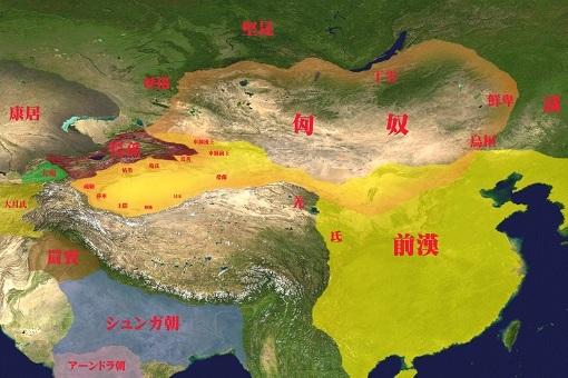紀元前2世紀、匈奴とその周辺国。