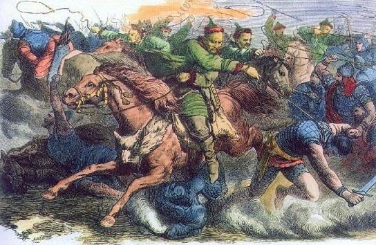 フン族を描いた19世紀の歴史画(ヨーハン・ネーポムク・ガイガー画)