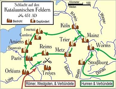カタラウヌムの戦いでのフン族(緑)と西欧諸民族連合軍(赤)の進路