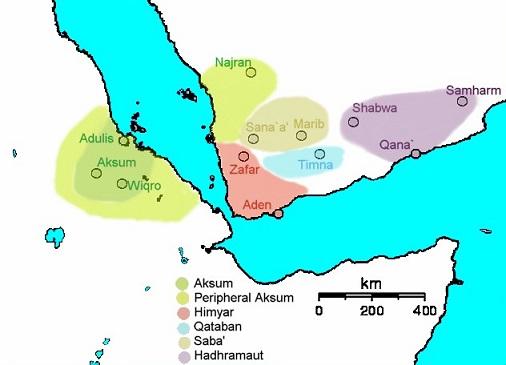230年頃のアラビア半島南部、エチオピアの勢力図(サバア王国)