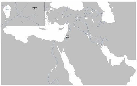 戦場周辺の地図(ヤムルークの戦い)