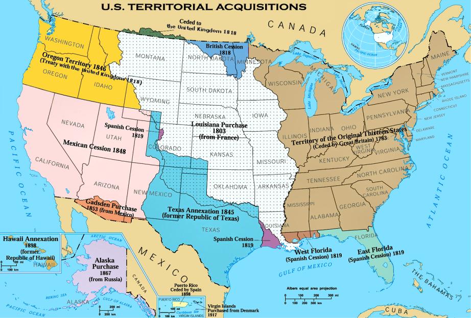 米国の領土拡張の推移。