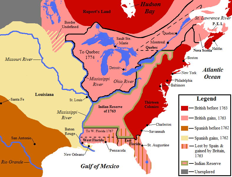 1763年のパリ条約後の北アメリカ。ピンクがイギリス領、黄色が、1762年のフォンテーヌブロー条約後にスペインが手に入れた領土である。