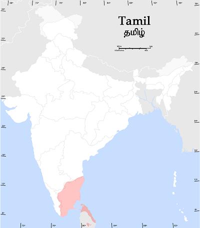 インド国内のタミル語話者の分布