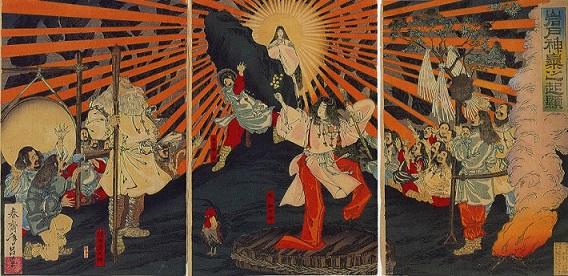 天岩戸神話の天照大御神(春斎年昌画、明治20年(1887年))
