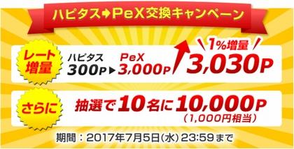 ハピタス→PeX交換キャンペーン