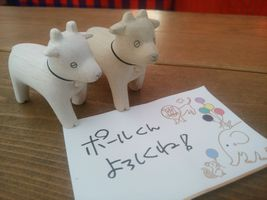 """【写真】ポレポレ動物シリーズのヤギ2頭と""""ポールくんよろしくね!""""と書かれたメッセージカード"""