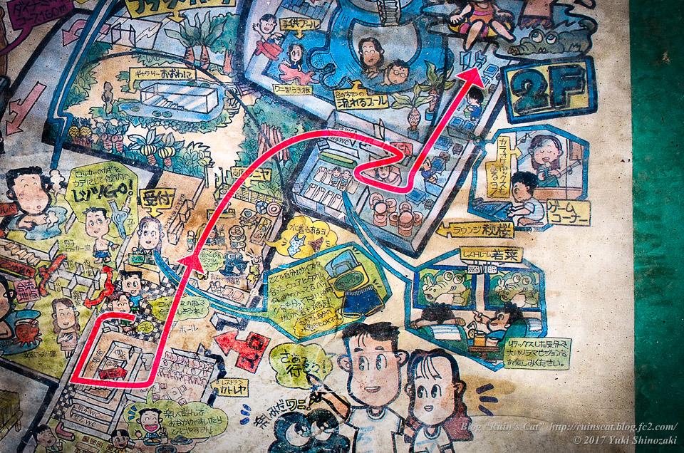 【廃墟】スパガーデン 湯~とぴあ(スパリゾート大鰐)_その7探索経路図示
