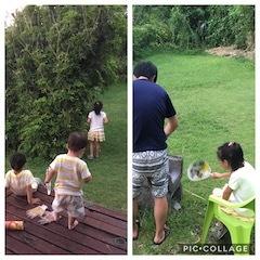 バンガローのお庭BBQ準備