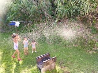 バンガロー庭で水遊び2