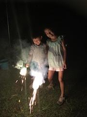 バンガロー庭で花火