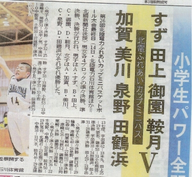 ミニバスケ大会で田上チームが優勝