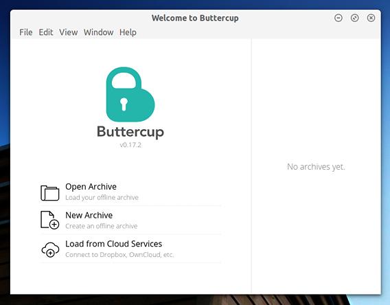 Buttercup Ubuntu パスワードマネージャ 新規アーカイブ