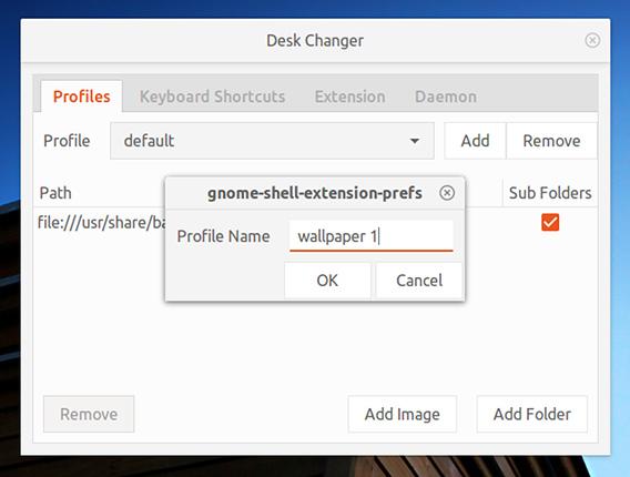 Desk Changer Ubuntu GNOME 壁紙 スライドショー 新規プロファイルの作成