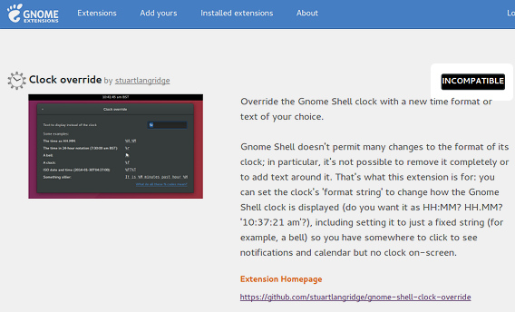 GNOME Shell Extensions 互換性なし