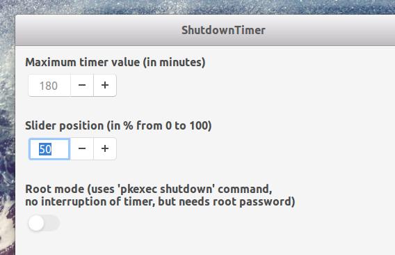 ShutdownTimer Ubuntu GNOME拡張機能 シャットダウンタイマー オプション