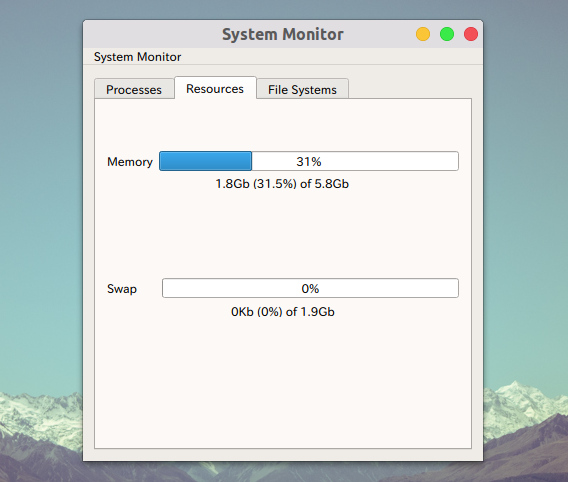 System Monitor Ubuntu システムモニタ