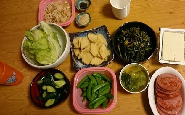 筍とスナップエンドウとわらび