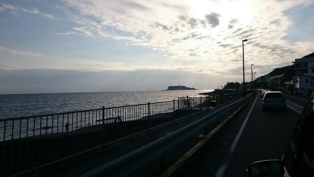 江ノ島が見えてきたー