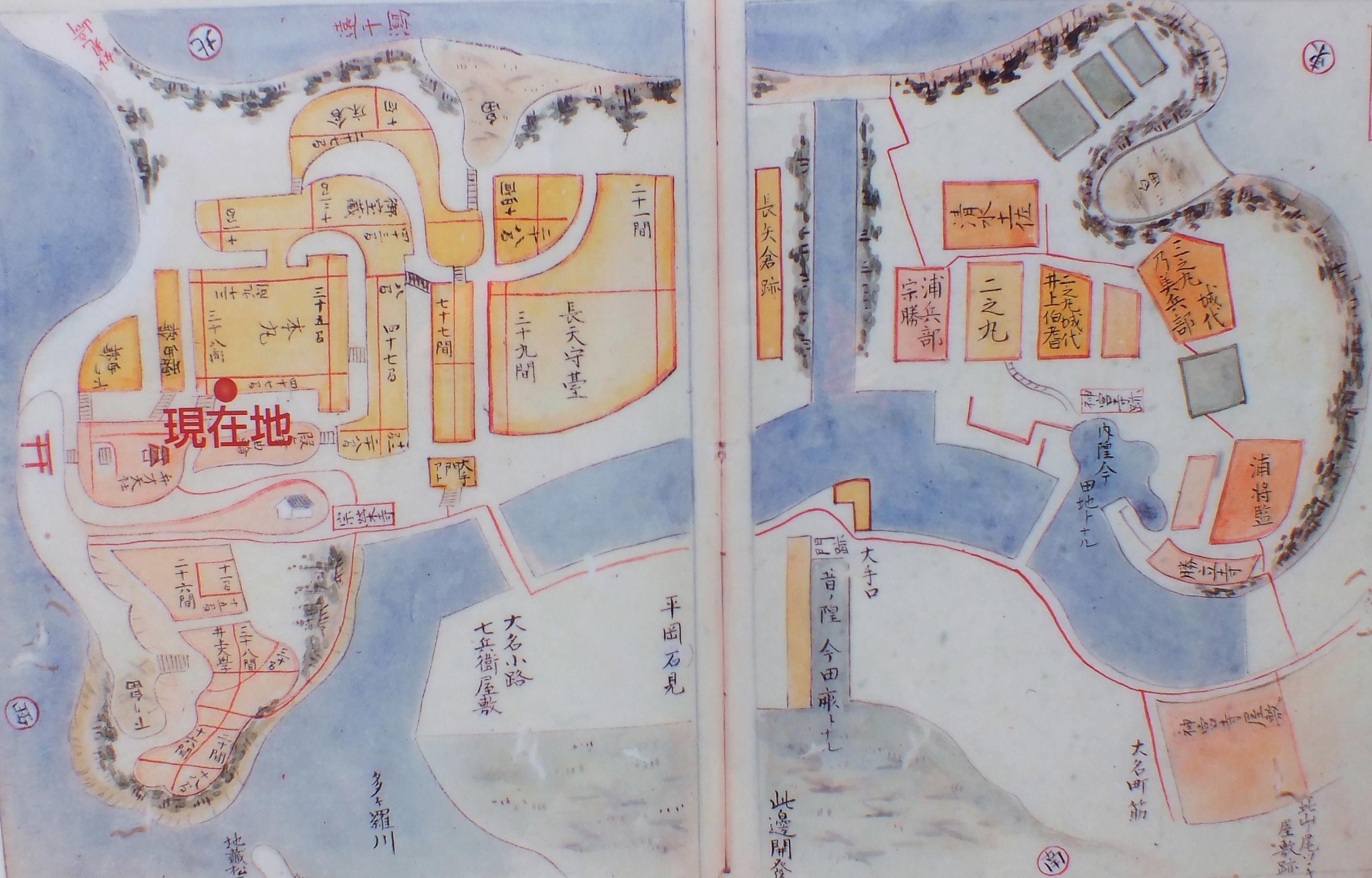名島城 現地説明板より絵図